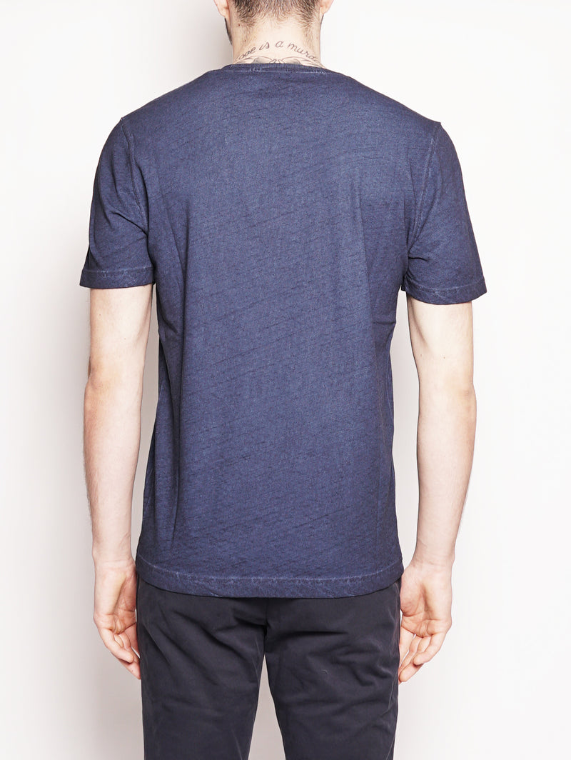 T-shirt in cotone e lino Blu-T-shirt-Alpha Studio-TRYME Shop