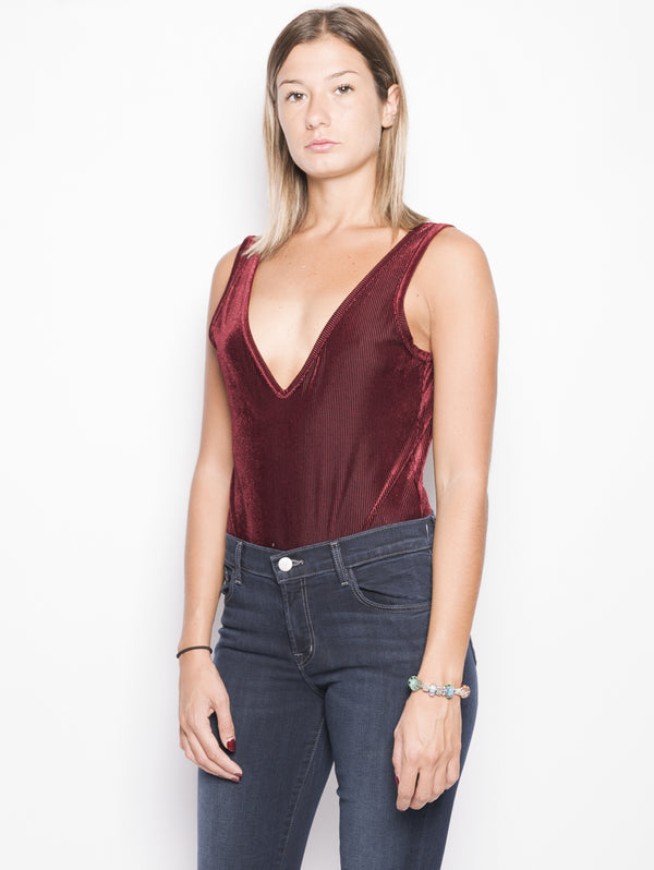 Body in velluto a coste Bordeaux-Top-WEILI ZHENG-TRYME Shop