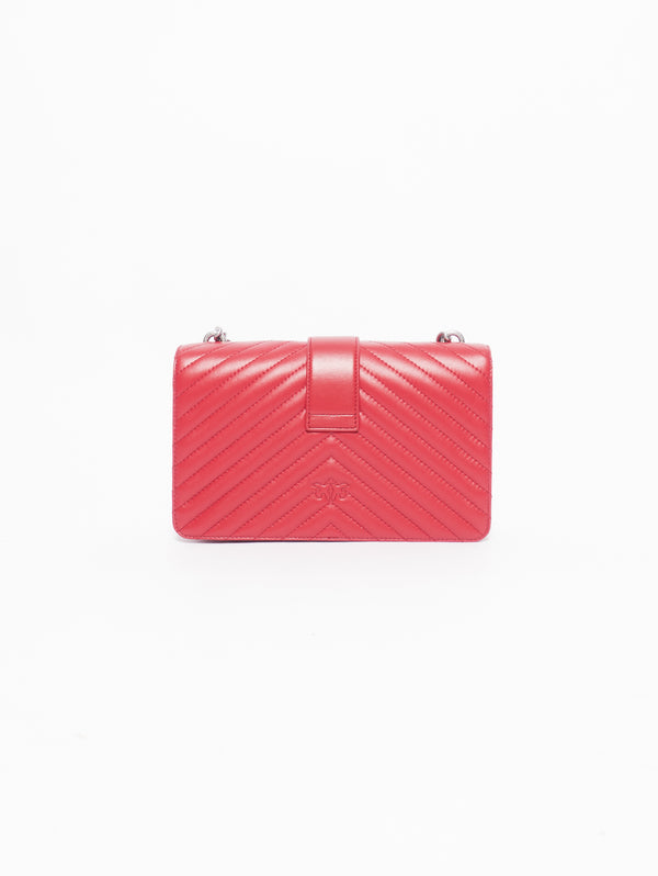 Borsa Motivo Chevron Love Bag Mix in Nappa Trapuntata Rosso