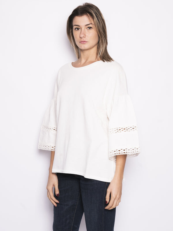 Maglia con pizzo - Women's Top Panna-Blusa-CLOSED-TRYME Shop