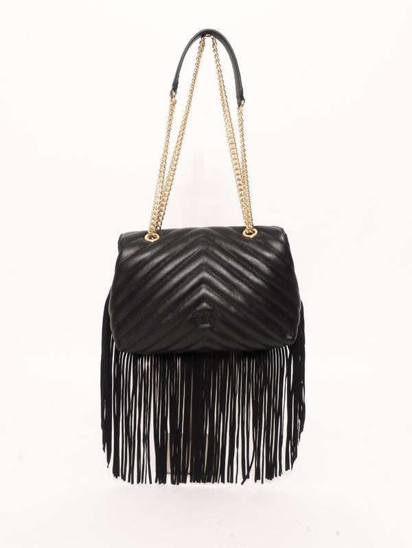 Borsa con Frange Love Bag Puff Nero