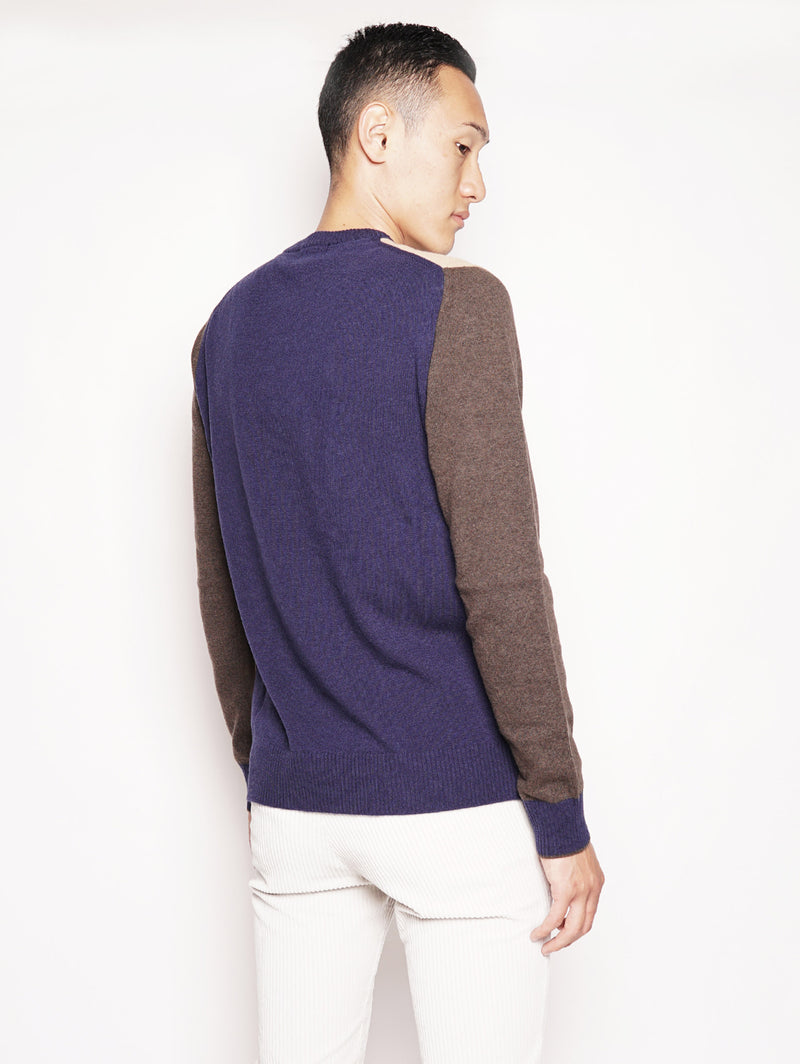 Color Block Sweater Beige / Blu / Marrone-Maglieria-WOOLRICH-TRYME Shop