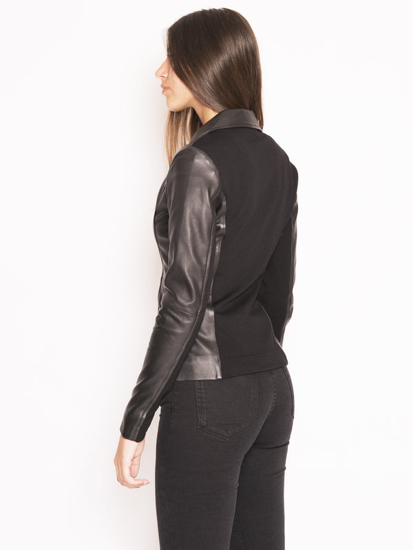 Black Stravedere Leather and Fabric Jacket