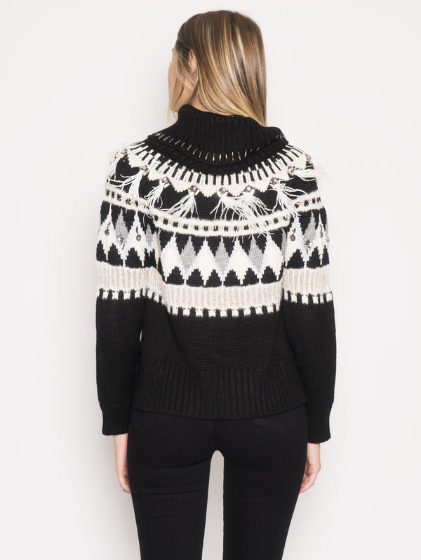 Sweater with Embroidery and Black Feathers
