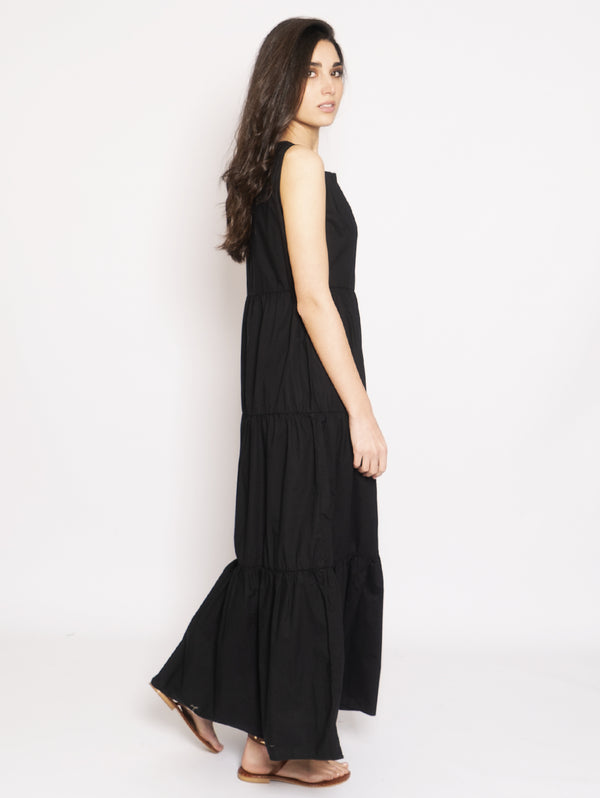 Long dress in Black Popeline