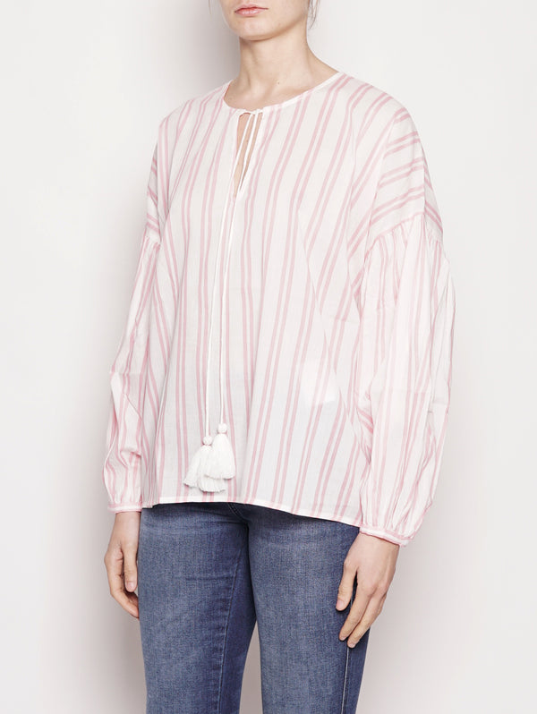 TOP AMPIO - PATTURA 3/4 SLEEVED TOP Rosa / Bianco-Top-ESSENTIEL-TRYME Shop