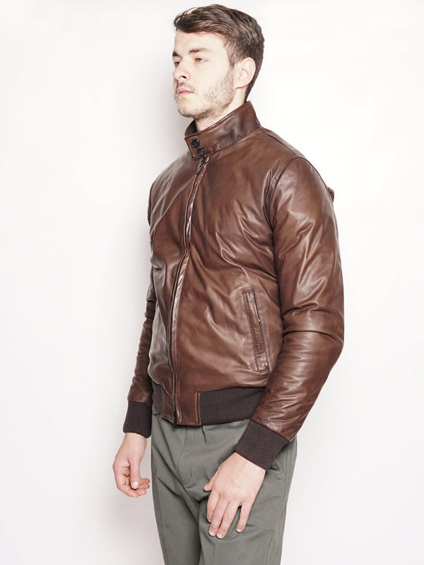 Bomber in pelle e piumino reversibile Marrone-Jacket-SICAS-TRYME Shop