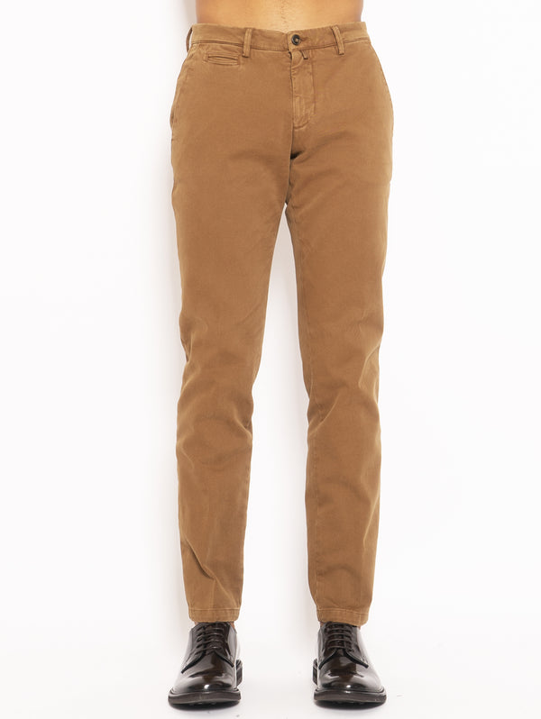 BRIGLIA 1949-Pantalone Chino in Cotone Armaturato - Marrone-TRYME Shop