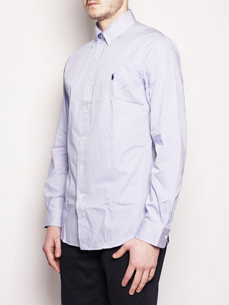 RALPH LAUREN Camicia popeline a righe Slim-Fit Blu/Bianco Trymeshop.it
