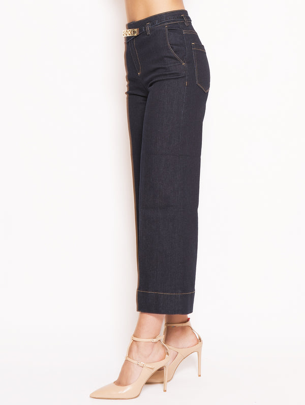 Peggy - Jeans a palazzo in denim twill stretch Blu