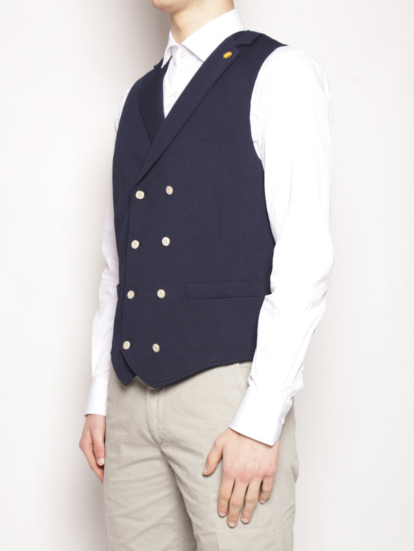 Gilet in jersey stretch Blu-Gilet-MANUEL RITZ-TRYME Shop