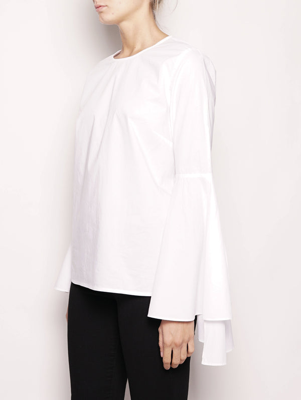 Blusa con volant - OLLERY1 Bianco-Top-ESSENTIEL-TRYME Shop