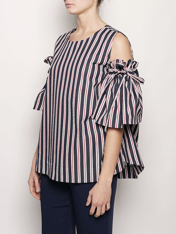 P.A.R.O.S.H. Cut out shoulder with puffed sleeves - COPPIA D310426 Blu / Rosso Trymeshop.it