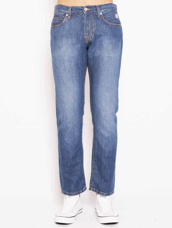 ROY ROGERS-Denim in Lino e Cotone Blu-TRYME Shop