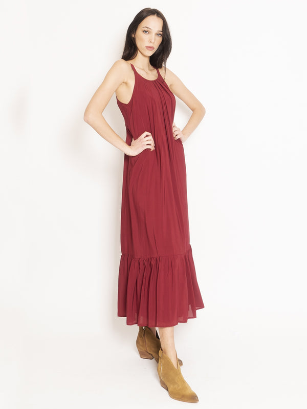 Long Dress with Red Pleats