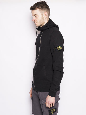 STONE ISLAND 64160 TINTO 'OLD' - Felpa full zip con cappuccio Nero Trymeshop.it