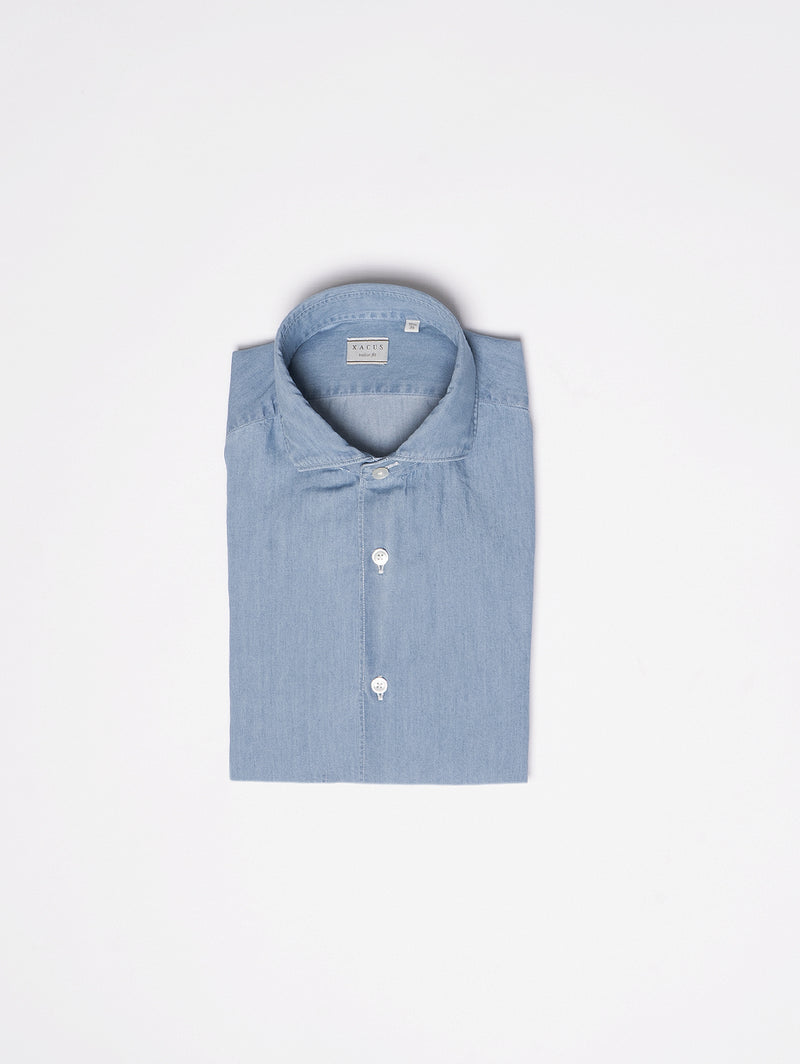 XACUS-Camicia in Chambray Blu-TRYME Shop