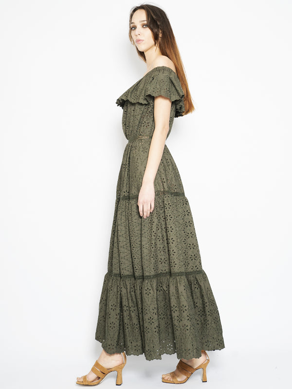 Long dress in Pizzo Sangallo Verde Militare