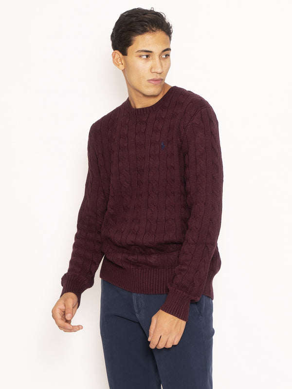 Cable Sweater in Cotton - Burgundy