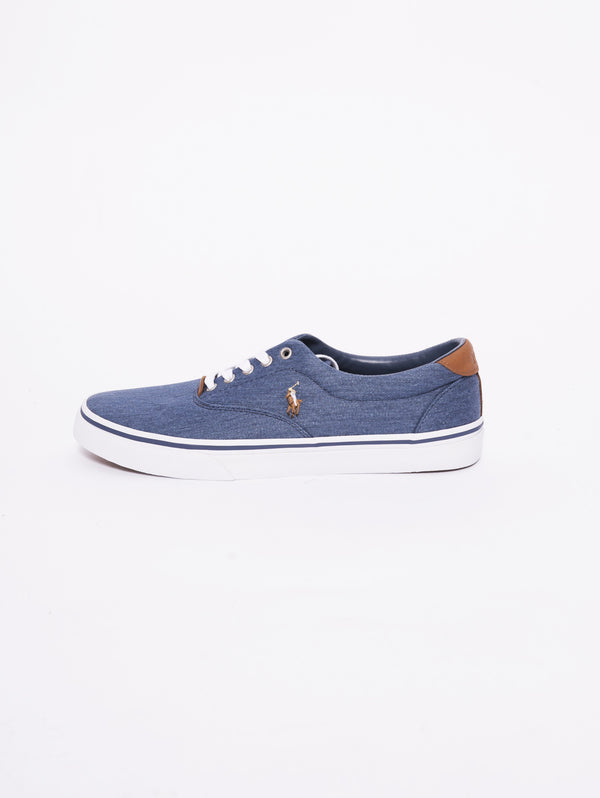 RALPH LAUREN-Sneaker Thorton in twill lavato Denim-TRYME Shop