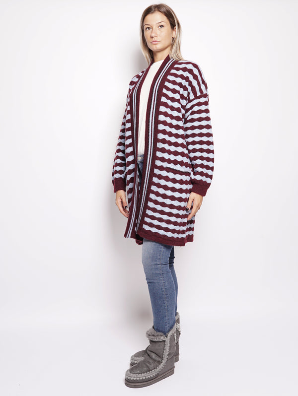 CARDIGAN A RIGHE ONDULATE - ROMEO BORDEA E BLU CHIARO-Cardigan-ESSENTIEL-TRYME Shop