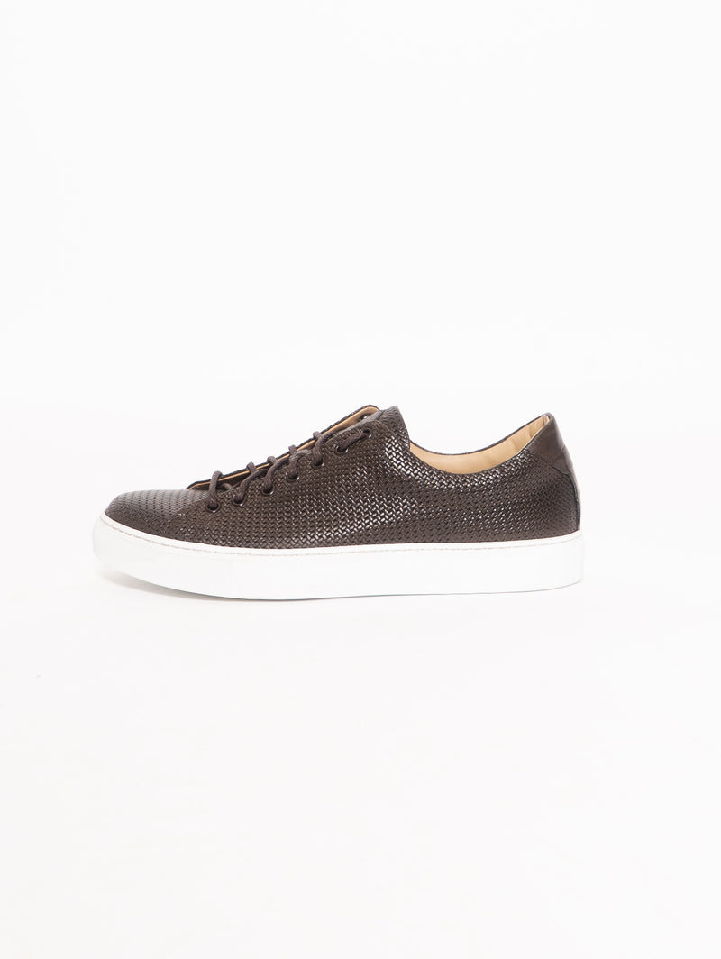 SEBOY'S-Sneakers in Pelle Intrecciata Marrone-TRYME Shop