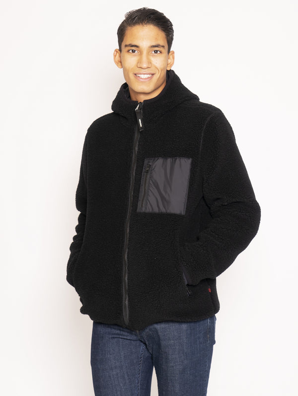 WOOLRICH-Giacchetto in Pile Reversibile Effetto Teddy - Nero-TRYME Shop