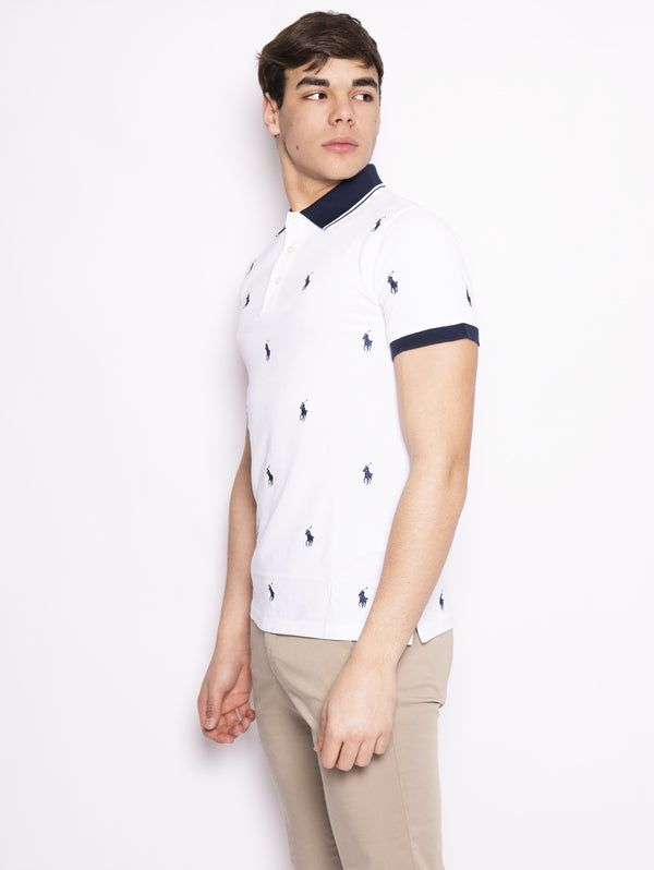 Polo stretch motivo all over Bianco / Blu-Polo-RALPH LAUREN-TRYME Shop