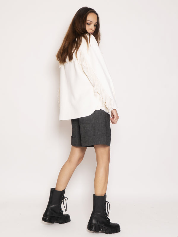 Wool overshirt with fringes - White