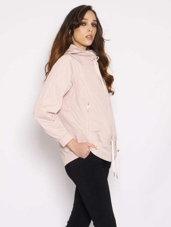 Jacket with Hood and Pink Drawstring