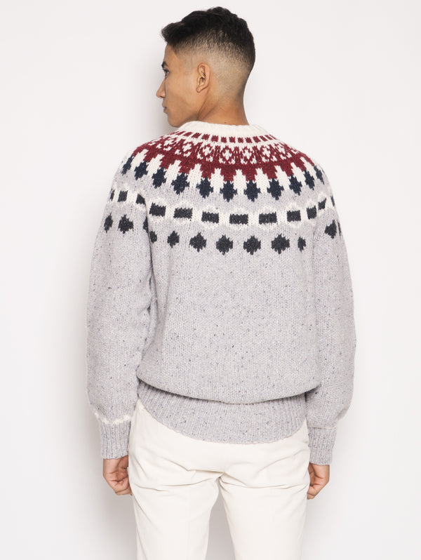 Nap Wool Jacquard Crew Neck Multicolor