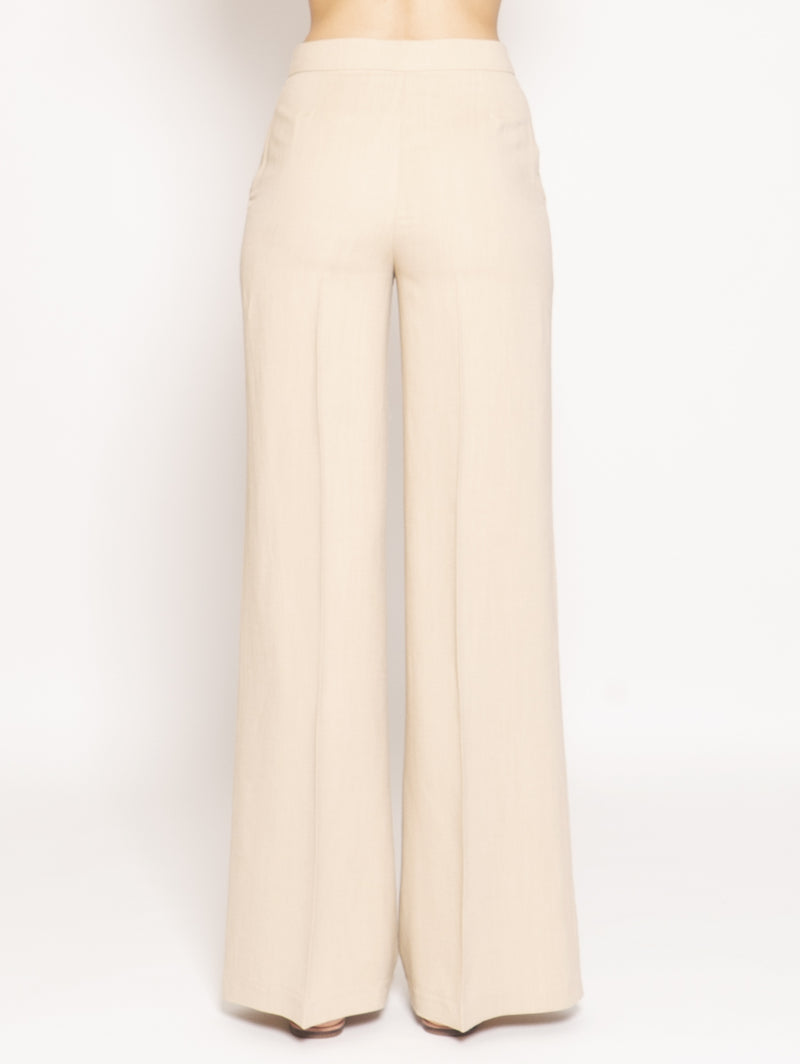 Pantalone in Canvas a Palazzo Beige