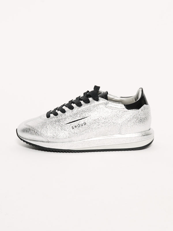 SNEAKERS IN PELLE 45MM Argento metallic/nero-Scarpe-GHOUD-TRYME Shop