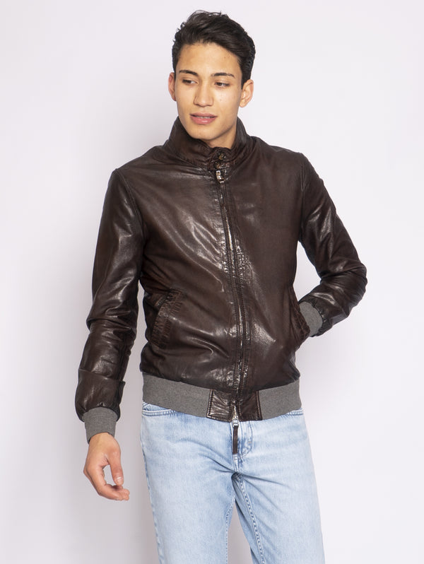 LEATHER AUTHORITY-Giubbotto Harrington in Pelle Testa di moro-TRYME Shop