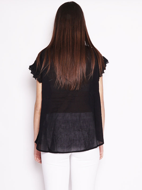 Top con ruches e pizzo - Sloeber Nero-Top-ESSENTIEL-TRYME Shop