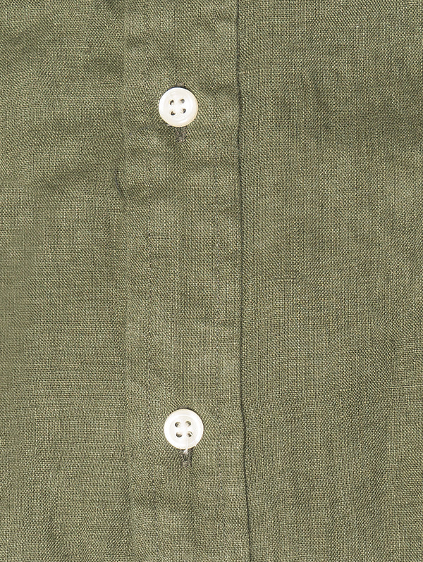 Camicia in Lino Slim Fit Verde
