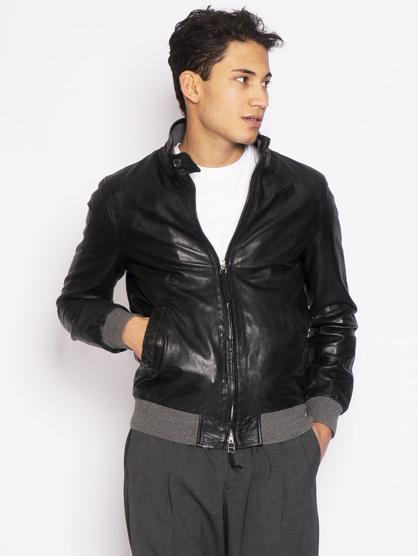 LEATHER AUTHORITY-Giubbotto Harrington in Pelle Lavata Nero-TRYME Shop