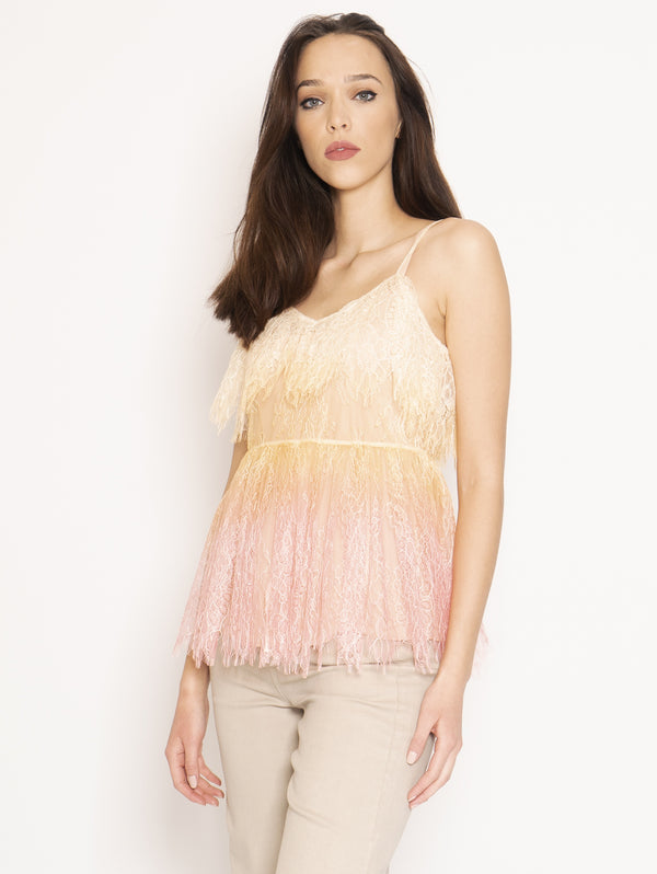 Top in Pizzo Valencienne Multicolor