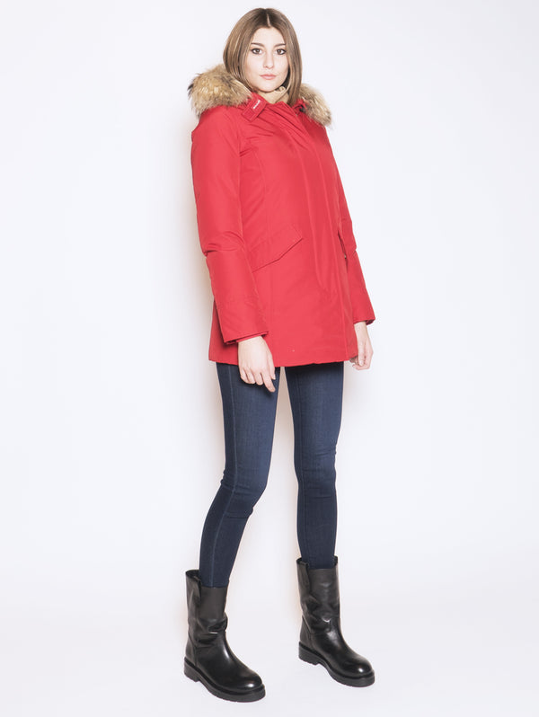 Giaccone parka in ramar Rosso