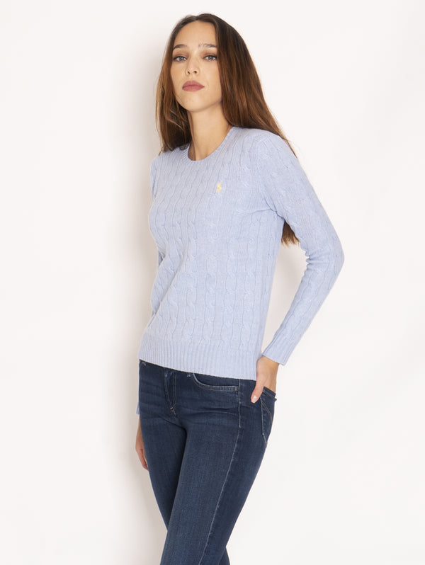 Cable Crewneck Sweater - Light Blue