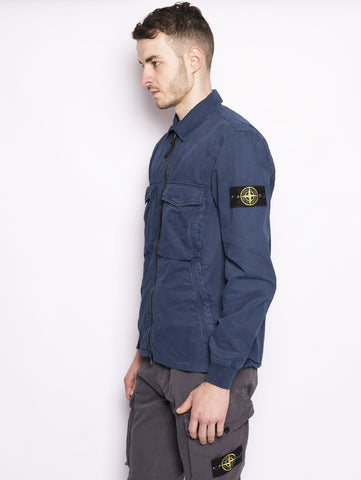 STONE ISLAND 130WN TINTO 'OLD' Camicia Blu Trymeshop.it