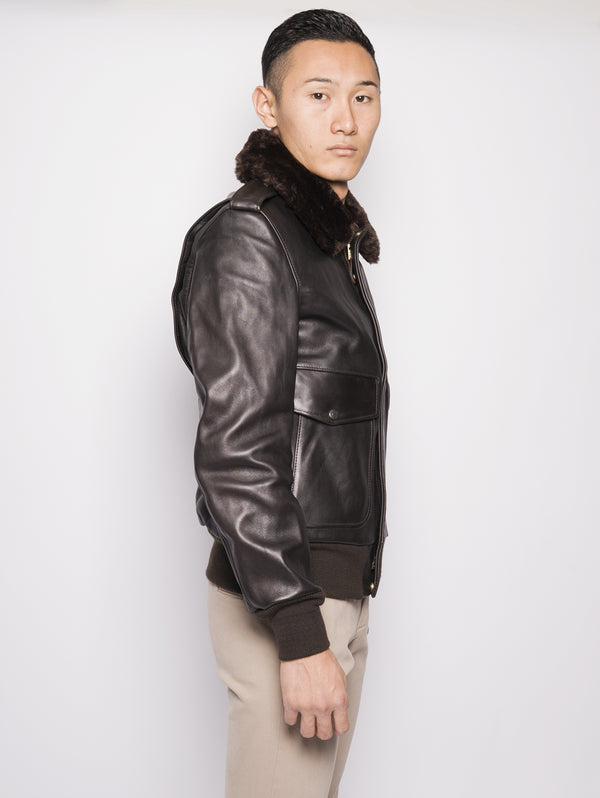 Bomber in pelle 184SM Marrone-Jacket-SCHOTT-TRYME Shop