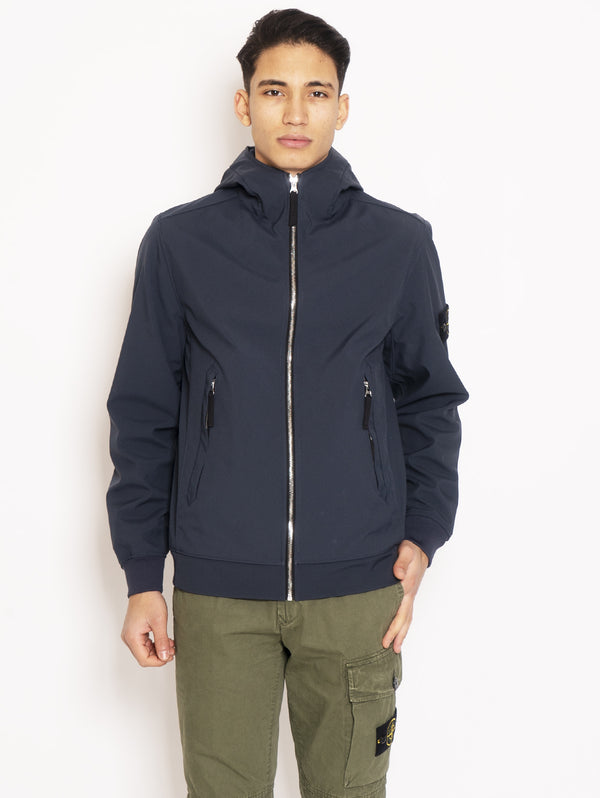 STONE ISLAND-Giubbino con cappuccio in Light Soft Shell-R Blu-TRYME Shop