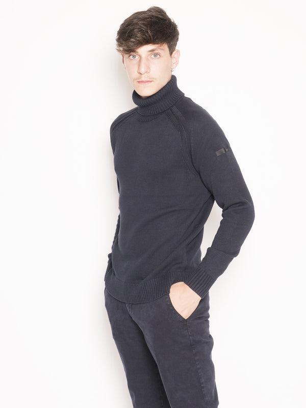 Maglia collo Alto Knit Cotton Plain Turtleneck Blu