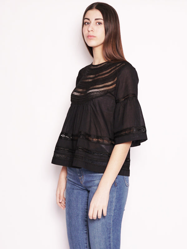 Blusa con intarsi in pizzo Nero-Blusa-Alpha Studio-TRYME Shop