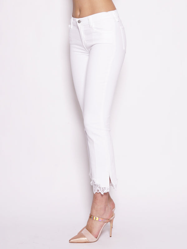 Selena Mid Rise Crop Boot Con Pizzo Bianco