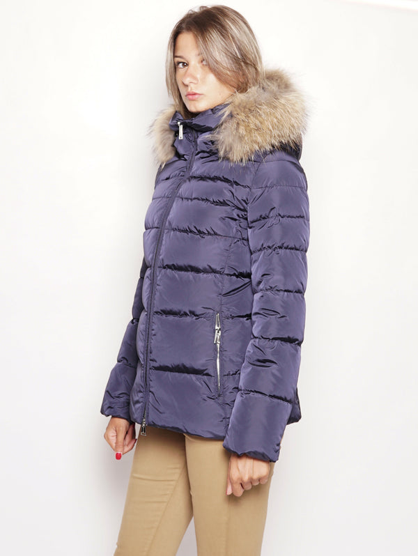 Piumino corto con collo in pelliccia - KAW103 Blu-Jacket-Add-TRYME Shop