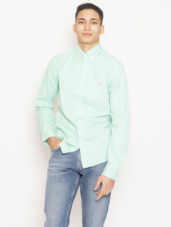 RALPH LAUREN-Camicia Feather Weight Twill Untucked Fit Verde-TRYME Shop