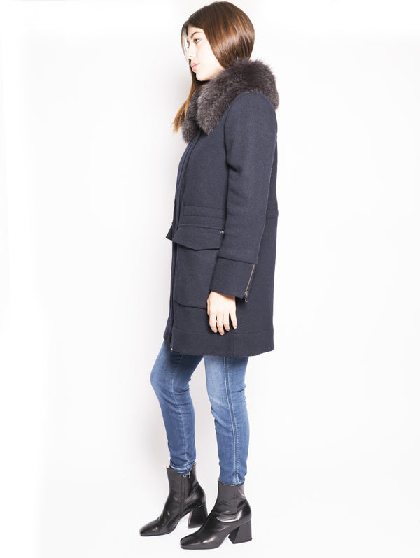 W's Wool Cotton Tra - Cappotto in lana con collo in volpe Blu-Cappotto-WOOLRICH-TRYME Shop