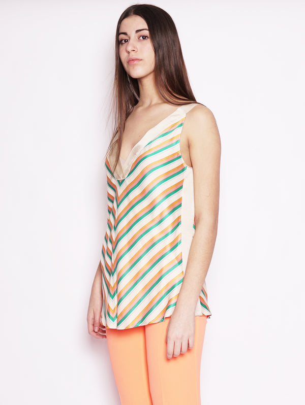 Top a righe multicolor - Rosaria Beige / Verde / Arancio-Top-Pinko-TRYME Shop
